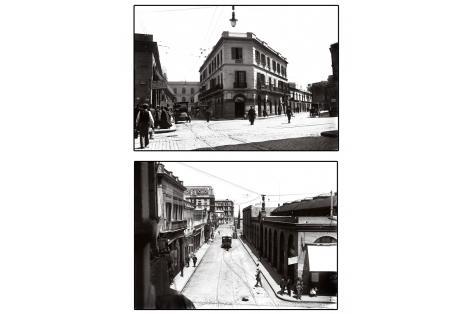Arriba vista de Perez Castellano y Yacaré. Café y Bar la Proa. Abajo Piedras vista hacia Hotel Nacional.