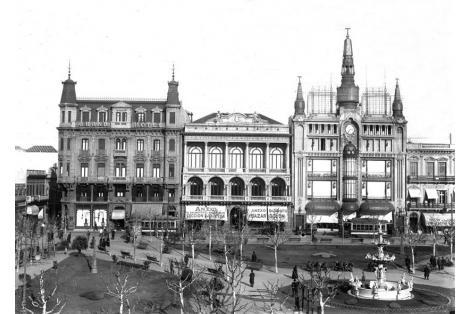 Vista Fachada calle Sarandí. Club Uruguay